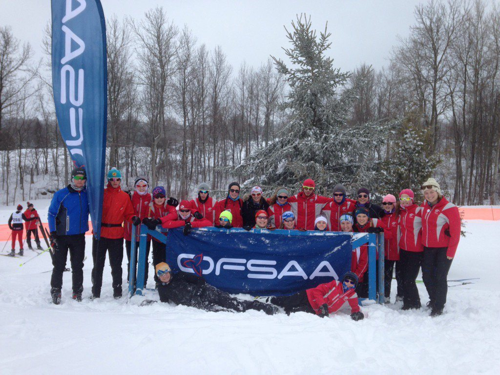 Parry Sound High School Nordic Ski team on the podium . 993c58b57fd9a